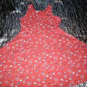 #571 Old Navy Coral Floral Sleeveless Sun Dress
